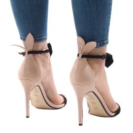 Różowe zamszowe sandałki szpilki kokardka JZ-6334 3