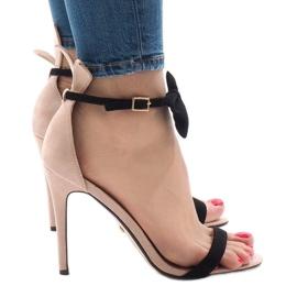 Różowe zamszowe sandałki szpilki kokardka JZ-6334 2