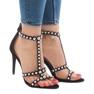 Czarne sandały na szpilce z ćwiekami 8296-Y zdjęcie 1