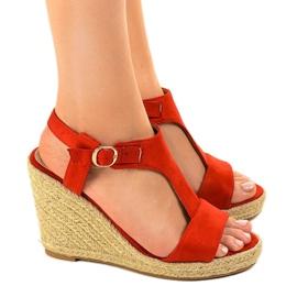 Czerwone sandały na koturnie espadryle H-69 2
