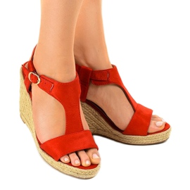 Czerwone sandały na koturnie espadryle H-69 1