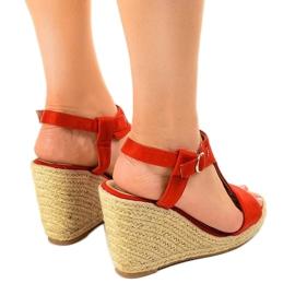 Czerwone sandały na koturnie espadryle H-69 3