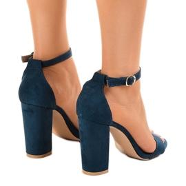 Granatowe eleganckie sandały na słupku LA-106 3