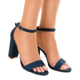 Granatowe eleganckie sandały na słupku LA-106 1