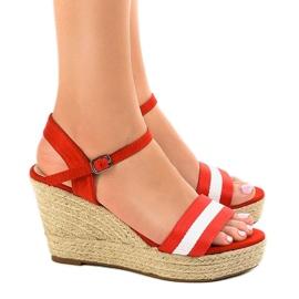 Czerwone espadryle sandały na koturnie 9072 2