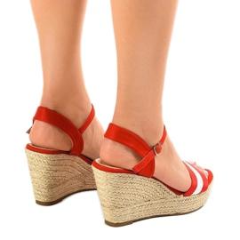 Czerwone espadryle sandały na koturnie 9072 3