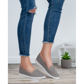 Top Shoes Lordsy Z Kryształkami szare 3
