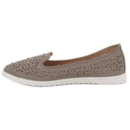 Top Shoes Lordsy Z Kryształkami szare 1