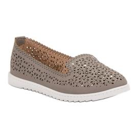 Top Shoes Lordsy Z Kryształkami szare 5