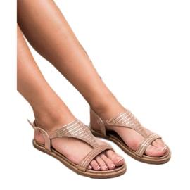 Super Mode Casualowe Sandały Z Cyrkoniami różowe 1