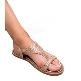 Super Mode Casualowe Sandały Z Cyrkoniami różowe 2