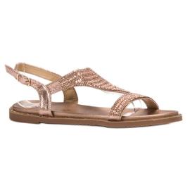 Super Mode Casualowe Sandały Z Cyrkoniami różowe 3
