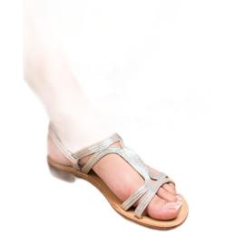 SHELOVET Sandały Na Obcasie szare 4