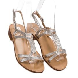 SHELOVET Sandały Na Obcasie szare 1