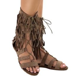 Taupe płaskie sandały gladiatorki D-41 1