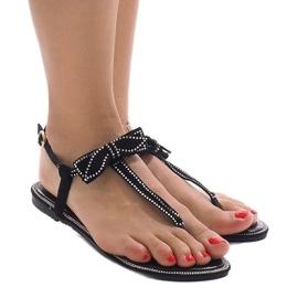 Czarne sandały z cekinami CX0707 1