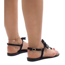 Czarne sandały z cekinami CX0707 2