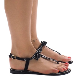 Czarne sandały z cekinami CX0707 3