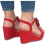 Czerwone sandały na koturnie Liris zdjęcie 1