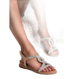 Bello Star Zamszowe Sandały Z Kryształkami brązowe 2