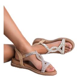 Bello Star Zamszowe Sandały Z Kryształkami brązowe 3