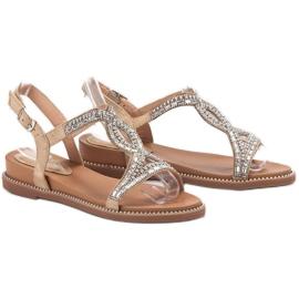 Bello Star Zamszowe Sandały Z Kryształkami brązowe 1