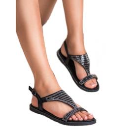 Super Mode Stylowe Czarne Sandały 1
