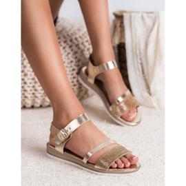 SHELOVET Modne Sandały Z Cyrkoniami złoty 2