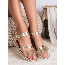 SHELOVET Modne Sandały Z Cyrkoniami złoty 4