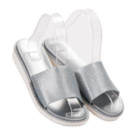 Fashion Modne Błyszczące Klapki szare 3