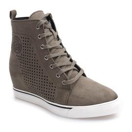 Ażurowe Sneakersy XW36236 Oliwkowy 1