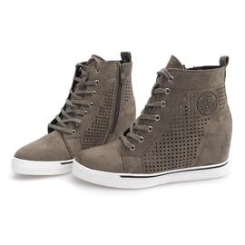 Ażurowe Sneakersy XW36236 Oliwkowy 2