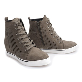 Ażurowe Sneakersy XW36236 Oliwkowy 3