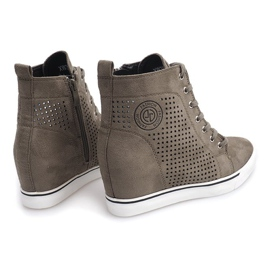 Ażurowe Sneakersy XW36236 Oliwkowy 4