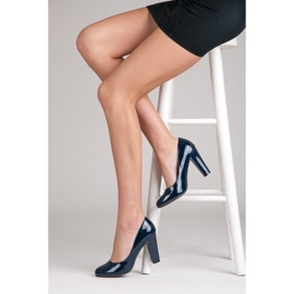 Sweet Shoes Lakierowane Czółenka Na Słupku niebieskie 1