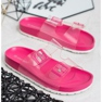 Ideal Shoes Transparentne Klapki Se Sprzączką różowe 3