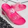 Ideal Shoes Transparentne Klapki Se Sprzączką różowe 4