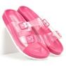 Ideal Shoes Transparentne Klapki Se Sprzączką różowe 1