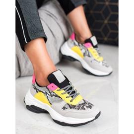 SHELOVET Kolorowe Sneakersy Snake Print wielokolorowe 3