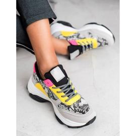 SHELOVET Kolorowe Sneakersy Snake Print wielokolorowe 1
