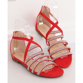 Sandałki damskie czerwone LL6339 Red 3