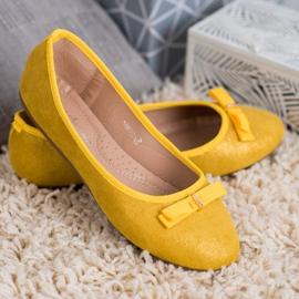 GUAPISSIMA Baleriny Z Brokatem żółte 3