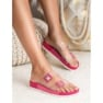 Ideal Shoes Transparentne Klapki Se Sprzączką różowe 6