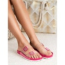 Ideal Shoes Transparentne Klapki Se Sprzączką różowe 5