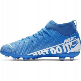 Buty piłkarskie Nike Mercurial Superfly 7 Club FG/MG Jr AT8150-414 niebieskie niebieskie 2