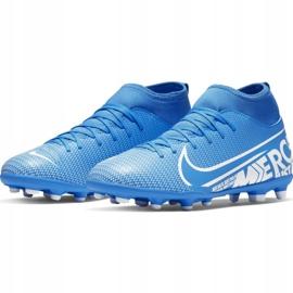 Buty piłkarskie Nike Mercurial Superfly 7 Club FG/MG Jr AT8150-414 niebieskie niebieskie 3