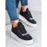 Ideal Shoes Sneakersy Z Brokatem czarne 1