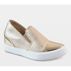 Złote sneakersy na koturnie DD437-8 żółte 1