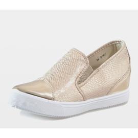 Złote sneakersy na koturnie DD437-8 żółte 3