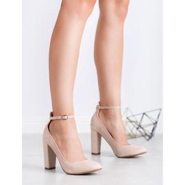Ideal Shoes Czółenka Zapinane Sprzączką brązowe 4